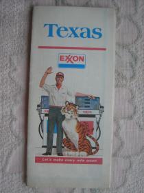【旧地图】德克萨斯州地图  大2开 1977年版