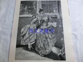 【现货 包邮】1890年木刻版画《聪明的鹦鹉》学舌的鹦鹉、漂亮的贵妇、可爱的孩子(gelehrige Schüler)  尺寸约41*29厘米(货号 18023)