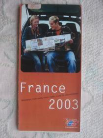 【旧地图】法国交通地图  大2开 2003年版