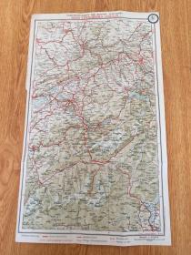 【民国欧美地图4】1920年前后彩印瑞士地图《BERNE-LOTSCHBERG-SIMPLON(伯尔尼-布里格-辛普朗)》