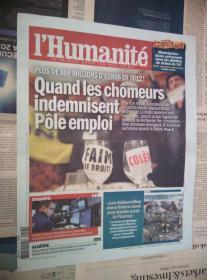 LHumanite 法国人道报 2014/02/13 NO.21358 外文原版过期旧报纸