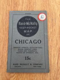 【民国欧美地图5】1920年前后纽约出版《CHICAGO(芝加哥城地图)》彩印两面印刷