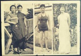 民国26年6月26日《号外画报》上海市立体专游泳女将江国梅女士,方雪麟,稽元贞和稽元洪玉照。