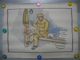 【名家书画】著名画家杨波六十年前的水粉画《好人好事/46*30*5》