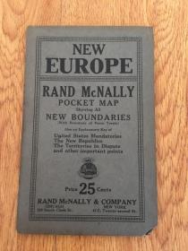【民国欧美地图7】1920年前后纽约出版《新欧洲地图》彩印