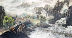 【憬悟文化】康笑枫老师大幅山水作品,憬悟文化作品均取自艺术家本人,永久保真。