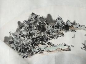 北京美协画家 丁世儒 写意山水 扇面