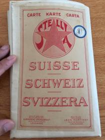 【民国欧美地图8】1920年前后瑞士出版《瑞士地图》彩印折叠大幅,三种语言