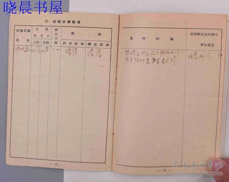 总后勤部领�9d#yce_29五十年代解放军总后勤部士兵健康证一份
