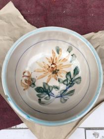 民国时期左右 大瓷盆 菊花彩绘瓷盆 直径30cm 高10cm 发顺丰快递