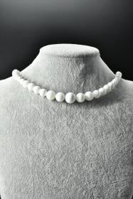 《砗磲项链》一条 天然砗磲纹理清晰  砗磲珠尺寸:14mm  全长54cm  总重量58.73g ,砗磲可作佛珠及装饰宝石。在佛教界中,砗磲深受许多师父及信徒们的喜爱。颜色漂亮的砗磲珠,除了可做装饰外,配戴在身上也可避邪保平安