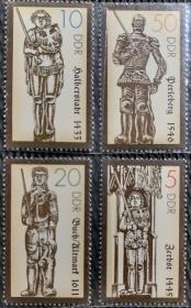 民主德国、东德1989年   古代武士雕塑邮票  4全新实拍