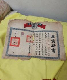 上海市私立东南中学毕业证书 中华民国三十一年 有孙中山的像并贴贰百元印花税票