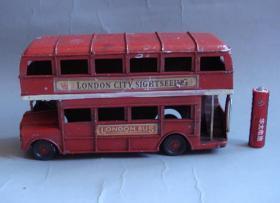 纯手工车模铁质车模老玩具双层巴士