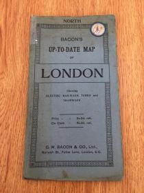 【民国欧美地图12】1920年前后英国出版《伦敦地图》折叠大幅彩印 95.5*75.5厘米
