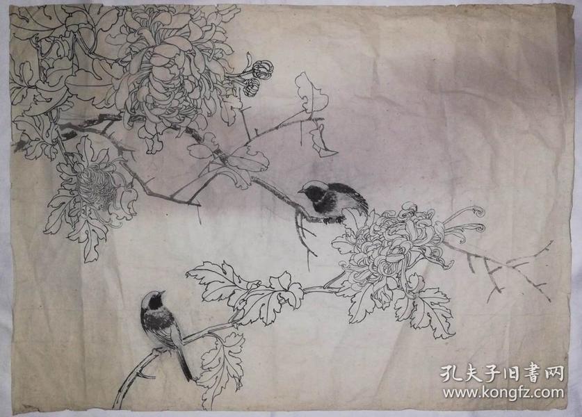 手绘真迹国画:无款20180815-01(老旧)