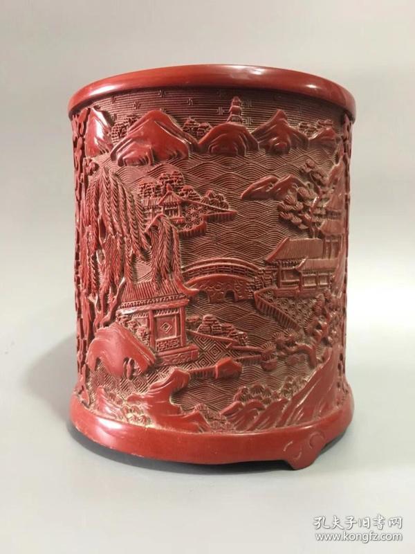 漆器雕刻山水楼阁纹笔筒