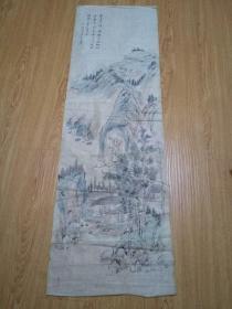 日本画《仿白石笔意山水林间农家图》一幅,落款【樵谷】