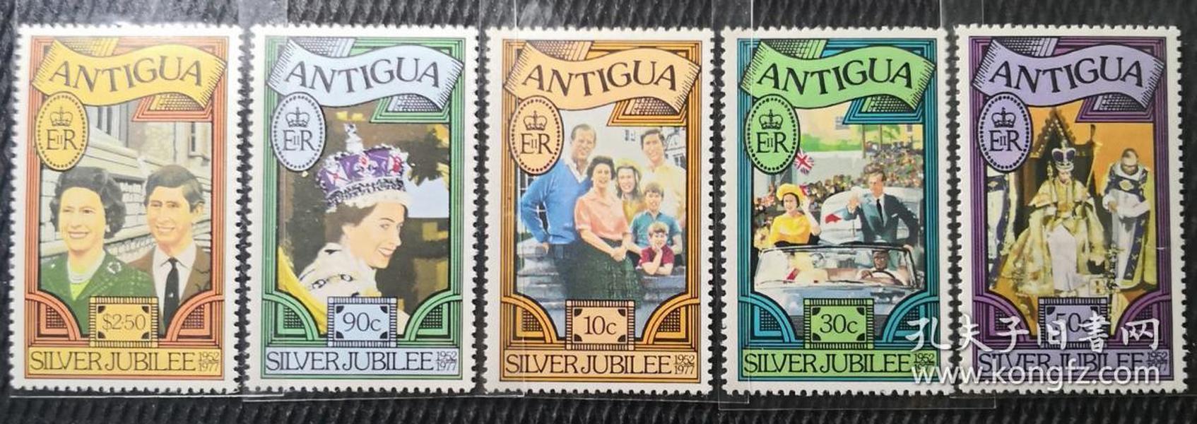 安提瓜1977年 英国伊丽莎白女王25周年 5全新  实拍