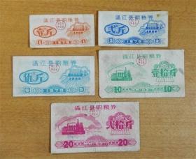 79年(四川)温江县粮食局购粮券5全套-稀少藏品级!