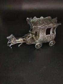 欧洲古董 银马车 133克