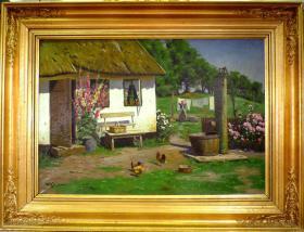 法国回流20世纪古董田园风光油画一副 尺寸:91×69CM 材质:布面油画 作者:(丹麦)卫勒.乔庚森(1897-1956) 作品创作于1920-1930年间,品相不错,很漂亮。34350#