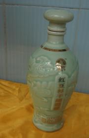 收藏酒瓶 似云似龙浮雕青瓷酒瓶高23厘米一斤装 原物仅此一件(46j)