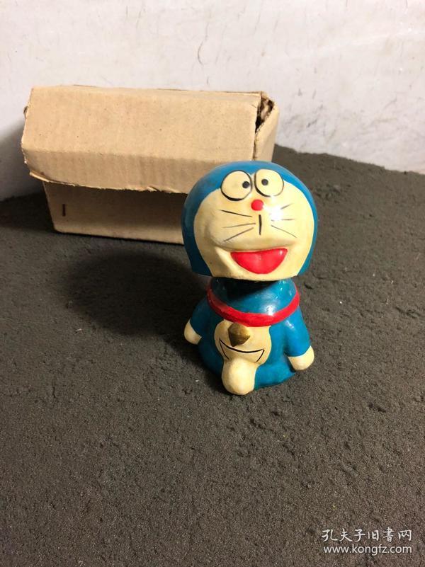 哆啦A梦,机器猫,八九十年代,摇头老玩具 原盒,石膏彩绘,孔网孤品