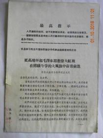 更高地举起毛泽东思想伟大红旗,在阶级斗争的大风大浪中奋勇前进-山西省忻县大南宋公社兴旺庄大队发言(1970年)