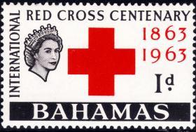 巴哈马1963早期英属新票-图文:红十字会百年纪念徽志-英女王头像