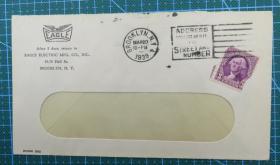 1939年3月20日美国(布鲁克林)实寄封贴邮票1枚