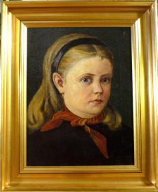 法国20世纪古董人物肖像油画 尺寸:28×22CM 材质:布面油画 无损   12453#