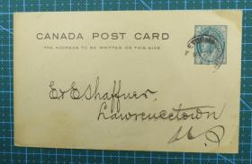 """1898年5月17日加拿大""""1分""""邮资实寄明信片"""