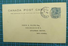 1924年6月4日加拿大(坎索寄新斯科舍)2分邮资实寄明信片