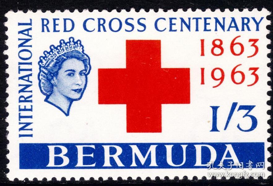 百慕大1963英属新票-图文:国际红十字会百年纪念徽志-英女王-35元