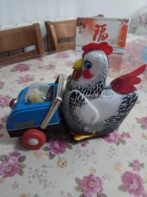 八十年代老铁皮玩具 母鸡推小鸡
