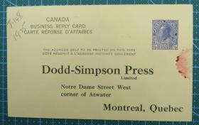 1925年加拿大半分邮资明信片