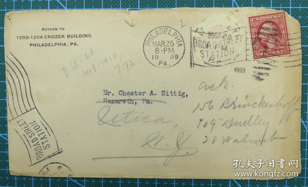 1939年3月25日美国(费城寄尤蒂卡)实寄封贴早期邮票1枚