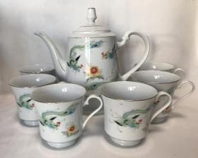 唐山老瓷器老茶具唐山白玉瓷厂龙凤纹老茶壶茶碗7件怀旧收藏
