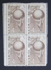 美国邮票------ 奈史密斯篮球 1189  1961  60  15 B