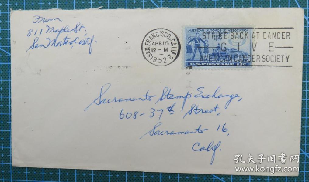 1952年4月16日美国(旧金山)实寄封贴早期邮票1枚