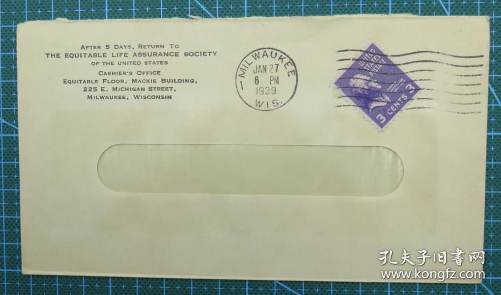 1939年1月27日美国(密尔沃基)实寄封贴早期邮票1枚