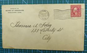 1919年12月27日美国(米德尔敦)实寄封贴早期邮票1枚