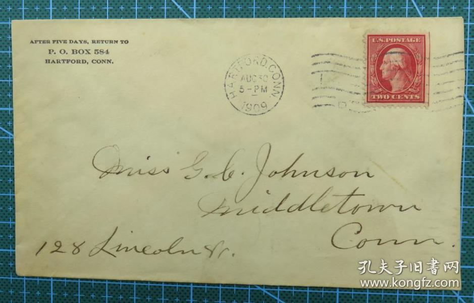 1909年8月30日美国(哈特福德寄米德尔敦)实寄封贴早期邮票1枚
