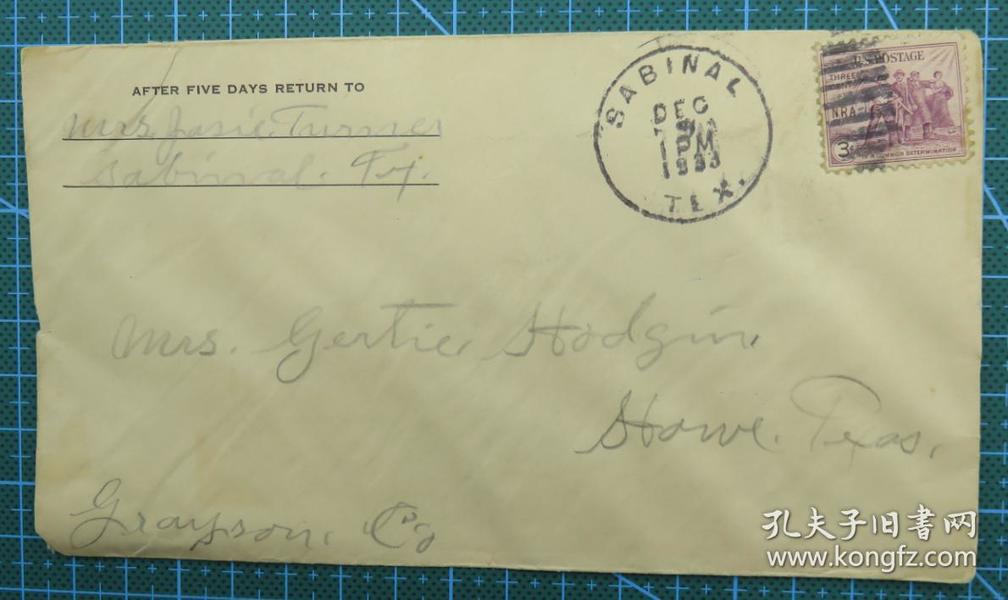 1933年12月9日美国(萨比纳尔)实寄封贴早期邮票1枚