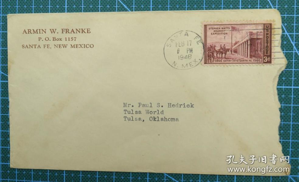 1948年2月17日美国(新墨西哥寄俄克拉荷马州)实寄封贴早期邮票1枚