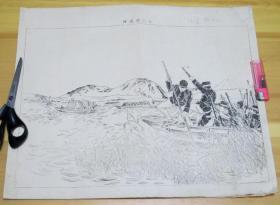 日清战争  甲午战争 铜版画 十二浦渡河