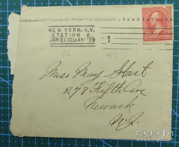 1899年1月31日美国(纽约寄纽瓦克)实寄封贴早期古典邮票1枚