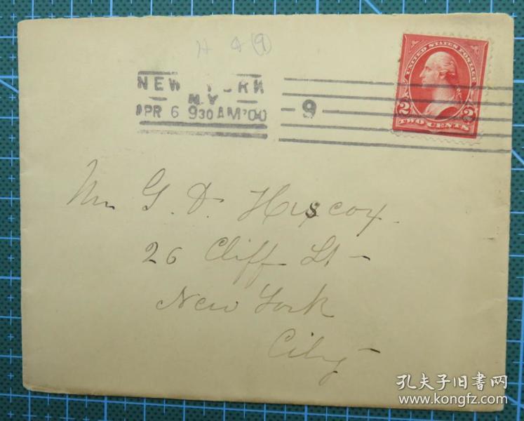 1900年4月6日美国(纽约互寄)实寄封贴早期华盛顿像邮票1枚