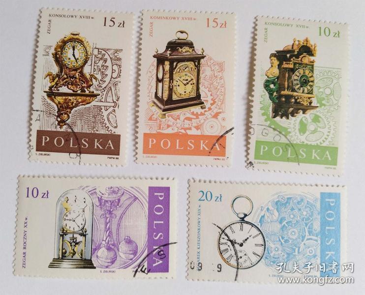 外国波兰邮票(盖销票5枚没有成套)华沙博物馆钟表文物